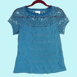 ANTHROPOLOGIE Meadow Rue Teal Lace Top
